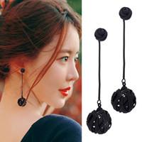 Wholesale Nest Earrings - South Korea temperament earrings long eardrop personality black hollow out the bird's nest joker earring stud earrings, Japan and South Kore
