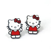 Wholesale Cute Earrings For Sale - Hot sale cat earring cute hello kitty stud earrings red alloy silver plated brincos for women fashion jewelry wholesales