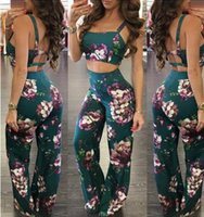 Wholesale Lady Summer Short Legging - Summer new Women two piece Fashion Sexy Halter Floral print Palazzo Boho Vintage ladies Harness crop tops +Wide Leg Pants