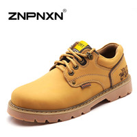 Wholesale Designer Wedges Boots - 2016 Autumn Men Ankle Boots Genuine Leather Mens Boots Casual Lace Up Brand Designer Work Men Boots Winter Shoes Man Znpnxn
