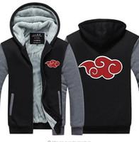 Wholesale Uchiha Coat - Naruto Jacket Coat Unisex Thick Zipper New Naruto Hoodie Anime Uchiha Sasuke Cosplay Uzumaki Luminous Sweatshirts USA EU size Plus size