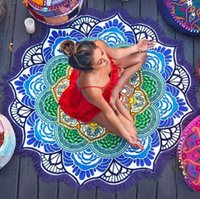 Wholesale Knit Tablecloth - Colorful Lotus Print Round Beach Towel Large Yoga Mat 147cm Indian Mandala Throw Bath Towels For Adult Tablecloth Picnic Blanket