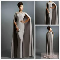 2016 Sexy Formal Evening Dresses Elie Saab Grey With Cape Ruffles Lace Edged Cheap Long Sheer Prom Party Платья Вечерняя одежда