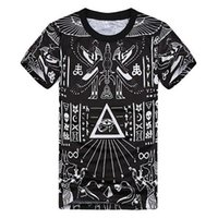 Wholesale Pyramid Shirt - Wholesale- Fashion 3D Printed T-shirts Homme Cool Pyramid Graphic Tees Hip Hop Style Comfortable Summer Tops Homme T Shirt Black Camisetas