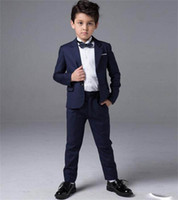 Wholesale Little Boys Wedding Suits - New Boys Suits Tuxedos For Weddings Boy's Formal Occasion Little Men Suits Children Kids Wedding Party Boy's Formal Wear (Jacket+pants)