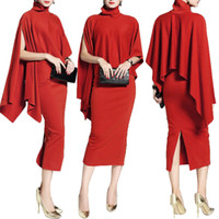 Wholesale Skirted Red Coat - New Fashion Women's Girl Two Piece Work Dresses Pure Red Ruffle Panelled Sets High Collar Cowled Coat Split Side Skirt HOT Sale Cheap Price