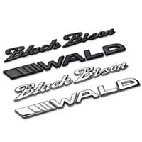 auto-logo 3d emblem abzeichen briefe großhandel-Schwarzer Bison WALD Separate Buchstaben Chrom Metall Zink Auto Styling Umrüstung Emblem Kofferraum Abzeichen Logo 3D Aufkleber für BMW Benz Bison