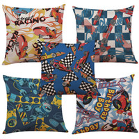 100% Cotton Woven Square Formula one Races Linen Cushion Cover Home Office Sofa Square Pillow Case Decorative Cushion Covers Pillowcases Without Insert(18*18Inch)
