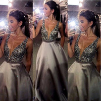 Wholesale Long Dress Party Import - Sexy Deep V-Neck Prom Dresses Long 2017 Beaded Satin Imported Party Dress A-Line Backless Evening Gowns