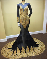 Wholesale Black Gold Saw - See Through Sexy Gold Lace Black Tulle Mermaid Evening Dress 2017 Long Party Dress High Neck Long Sleeves Prom Dresses Cheap