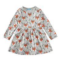 ropa de bebé zorro al por mayor-Los niños niñas de manga larga se visten completamente impresos fox baby girl algodón vestidos niños linda primavera otoño ropa