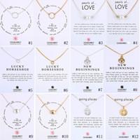 lotus schmuck großhandel-Neue Dogeared Halsketten Mit Geschenkkarte Kreis Perlen Hufeisen Kompass Lotus Blume Anhänger Gold Silber Kette Für Frauen Modeschmuck