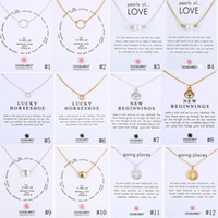 Wholesale christmas gift card tins for sale - Group buy New Dogeared Necklaces With Gift card Circle Pearls Horseshoe compass lotus flower pendants Gold Silver chain For women Fashion Jewelry
