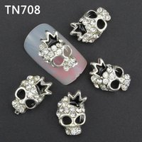 Wholesale Nail Glitter Skulls - Wholesale- 10Pcs Luxury Silver Skull Nail Tools Rhinestones For Nails Alloy Glitters DIY 3D Nail Art Decorations TN708