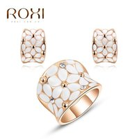 Wholesale ROXI Fashion Women White Carved Flower White Rose Gold Plated Stud Earrings Chain Necklace Jewelry Sets Romantic Valentine Gift