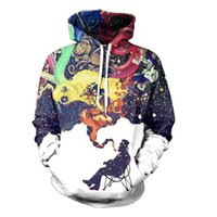 Wholesale Korean Hip Hop Clothes - Wholesale-Graffiti Hoodies Artistic Jazz Brand-Clothing 3D Abstract Art Smoking Hoodie Hip Hop Galaxy Hooded Men Women Korean Sweatshirts