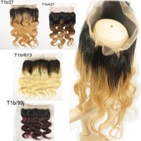 Wholesale Side Parting Brazilian Hair Closure - Pre Plucked Ombre 360 Lace Frontal Closure Body Wave Brazilian Virgin Hair 10-24 inch T1b 27 T1b 613 T1b 99j T1b 4 27