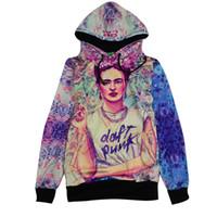 Wholesale Daft Punk Hoodie - Wholesale- Alisister harajuku style women men 3d hoodies frida kahlo print DAFT PUNK pullover punk smoking sweatshirts sudaderas mujer