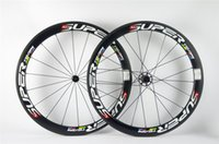 Wholesale Carbon Bike Clincher - Basalt brake surface!! Original ! T800 50mm Superteam full carbon wheels clincher tubular carbono fiber wheelset 18 21 weave 700C*23