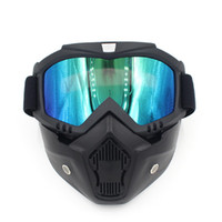 Wholesale Green Motor Bike - Ski Bike Motorcycle Face Mask Goggles Motocross Motorbike Motor Open Face Detachable Goggle Helmets Vintage Glasses Universal