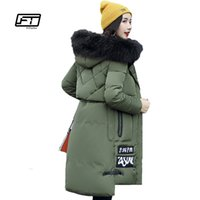 Fitaylor 2017 Winter New Fashion Letter Patch Средняя длина с капюшоном Parka Slim Thickening Fur Collar Down Cotton Parka Coat Woman
