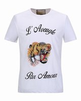Wholesale Tiger T Shirt For Women - 2017 Blind For Love Embroidery Tiger Head T-Shirt Men Women Fashion Casual Short Sleeve Tops Tee Male Hip Hop O-Neck T Shirts