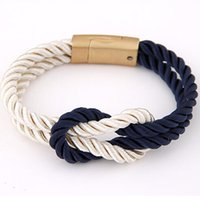 Wholesale Leather Bow Cuff Wholesale - Wholesale- Pulseiras Femininas Fashion Braided Rope Chain with Magnetic Clasp Bow Charm Leather Bracelets & Bangles for Women Men Jewelry