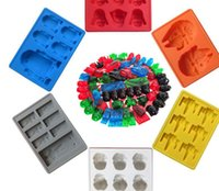 Wholesale Silicone Ice Cube Trays Wholesale - Star Wars Ice Cube Tray Silicone Mold Chocolate Molds Darth Vader R2D2 Storm Trooper X-Wing Mold Ice Tray mold 8 design KKA1564