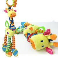 Wholesale Giraffe Teether - Wholesale- New Arrival Infant Cute Giraffe Plush Toys Baby Bed Stroller Hanging Rattles Teether Dolls