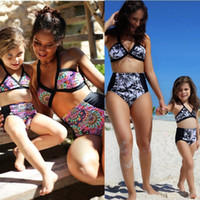 Wholesale Sexy Kids Bathing Suit - 2017 New Mother and Daughter Family Match Swimsuit Sexy Women Floral High Waist Bikini Set Toddler Kids Girls Bathing Suit 2pcs