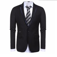 Wholesale Tailor Dress Groom - Wholesale- Black and grey men suits jacket one button wedding groom dress jacket tailor made fashion formal work suits jacket
