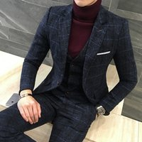 Wholesale Mens Blue Dress Pants - Wholesale- 3 Piece Suits Men British Latest Coat Pant Designs Royal Blue Mens Suit Autumn Winter Thick Slim Fit Plaid Wedding Dress Tuxedos