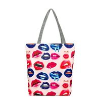 Wholesale Cheap Beach Bags Totes - Lips Printed Canvas Casual Tote Female Appliques Beach Bags Women Shopping Single Shoulder Bag Daily Use Handbags for Cheap