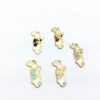 Wholesale Wonderland Bracelet - Free Shipping 20pcs Zinc Alloy Cartoon Rabbit Alice In Wonderland Enamel Charm Pendant Bracelet Necklace Jewelry DIY Accessories 20*10mm