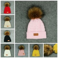 Wholesale Knit Fur Hats Women - Kids Pom Pom Knitted Beanie Women Winter Detachable Fur Ball Hat Solid Color Knitted Beanies Hat Skullies Caps OOA3011