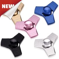 Wholesale Free Patterns Children - EDC Tri-Spinner Fidget Spinner UFO2 Hand Finger Toy Pattern Aluminum Alloy Adult Children Decompression Toys 5 Colors Free Shipping