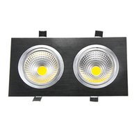 Wholesale Energy Saving Light 14w - Wholesale- Energy Saving Double Head LED COB Downlight 14w 18w 24w 30w LED Recessed Ceiling Downlight Square Black led cob Spot Light