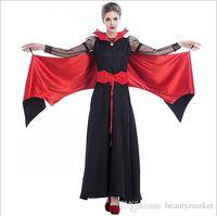 Wholesale Devil Queen Costume - Halloween Sexy Vampire Cosplay Black Queen Evil Bat Costume Clothes Masquerade Plays Vampire Costumes PS9247