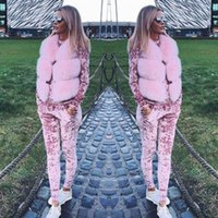 Wholesale Ladies Lounge Sets - Ladies Crushed Velvet Lounge Suit Sweatshirt Womens Lounge Wear Tracksuit 2 Piece Set