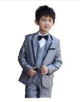 Wholesale Kids Grey Tuxedos - Grey kids wedding suits Boy's Formal Occasion Children Wedding Suit Boys Attire Bespoke Kid Tuxedo