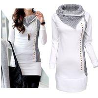Wholesale Top Stylish Ladies Long Shirts - Wholesale- High Quality 2016 New Stylish Women Shirt Turn-Down Collar Woman Lady Rivet Embellished Long Sleeve Hoodies Women Tops