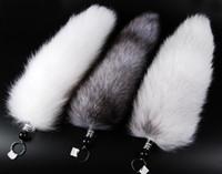 cola de zorro al por mayor-Al por mayor-30-47cm genuino Red Fox Silver Fox Tail llavero piel borla bolsa etiqueta encanto llavero envío gratis