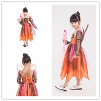 Wholesale Wings Park - Pumpkin Fairy Children Performance Clothing Angel Costume Amusement Park Party Dresses Include Wings Net Yarn Cosplay Princess Dresses