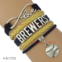 (10 Pieces / Lot) Infinity Love Milwaukee Brewers Baseball Charm Bracelets Pour Femmes Men Jewelry Tous Thèmes Drop Shipping
