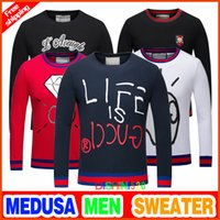 Wholesale Casual Slim Long Pullover Sweater - 2017 New autumn winter quality is very good animal printing sweater high-end designer clothing shape is perfect men Medusa sweater M-3XL