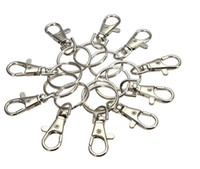 Wholesale Lobster Key Chain - Classic Key Chain Ring Silver Metal Swivel Lobster Clasp Clips Key Hooks Keychain Split Ring DIY Bag Jewelry Wholeales
