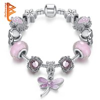 Wholesale Dragonfly Silver Bracelets - BELAWANG Popular Silver Plated Dragonfly Pendant Charm Bracelets&Bangles With Pink Murano Glass Beads Snake Chain Jewelry Making Wholesale