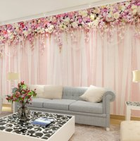 Wholesale Flower Curtain Wall - Wholesale- Wholesale 3d Wall Photo Mural for Wedding Room Cloth Curtain 3d Murals for Sofa Background 3d Wall flower Murals for Bedroom