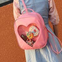 Wholesale Book Shape Bag - 50pcs lot Summer Candy Transparent Love Heart Shape Backpack Harajuku School Backpack Shoulder Bags For Teenager Girls Book Bag