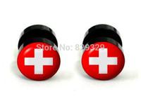 Wholesale Plug Flag - Sweden flag logos acrylic cheater fake ear plugs earring stud illusion fake plugs size 10mm*1.2mm FEP028
